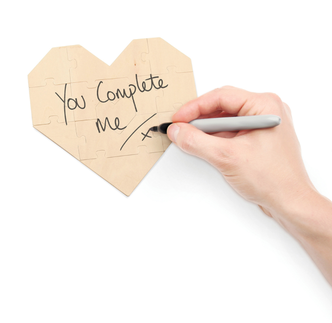 Luckies of London You Complete Me Wooden Jigsaw Gift Set ($11.50) This heart-shaped jigsaw puzzle allows for one to write a heartfelt message to be pieced together.