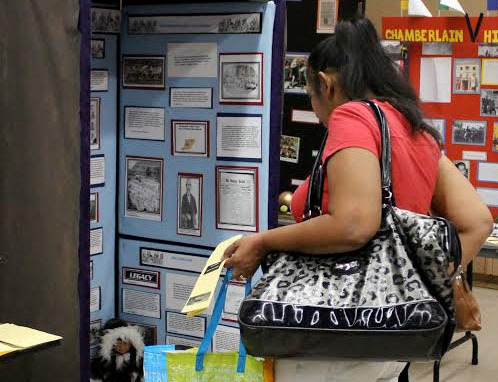 """A parent observes junior Kaitlyn Arst's exhibition on Toby """"Winema"""" Riddle. Arst will be competing  in LA County History Day for the third consecutive year."""