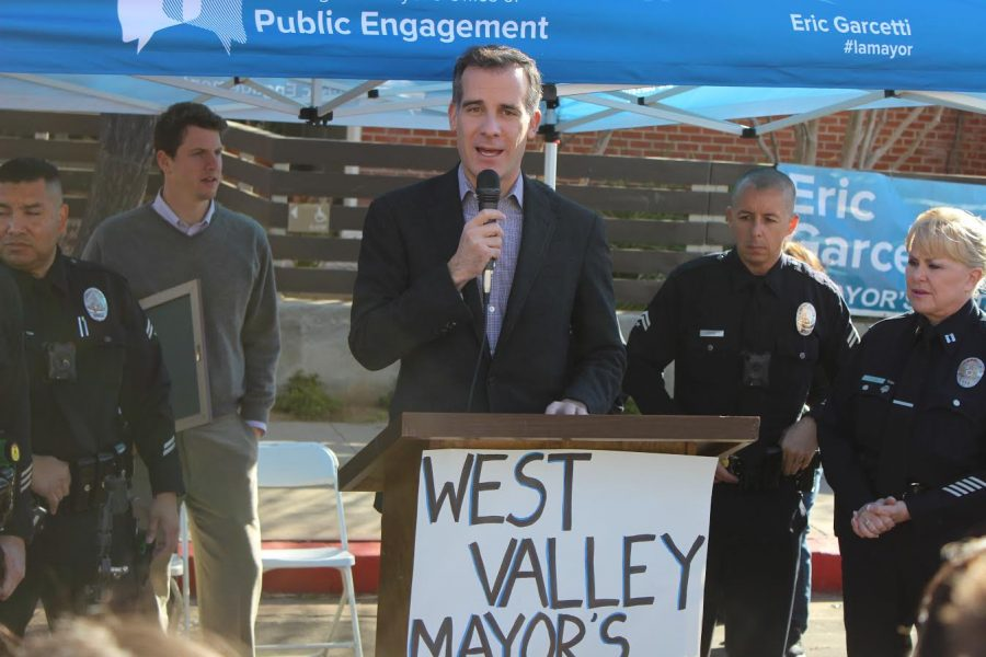 Mayor Eric Garcetti gives a speech addressing the importance of the app