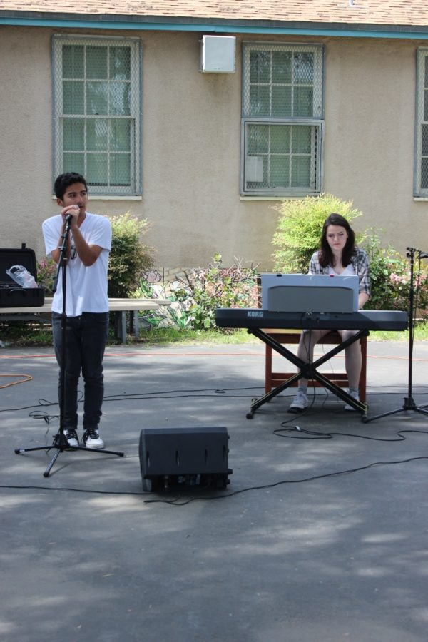 Sophomore Jared Medrano and senior Lissa Favela perform When I Was Your Man by Bruno Mars.