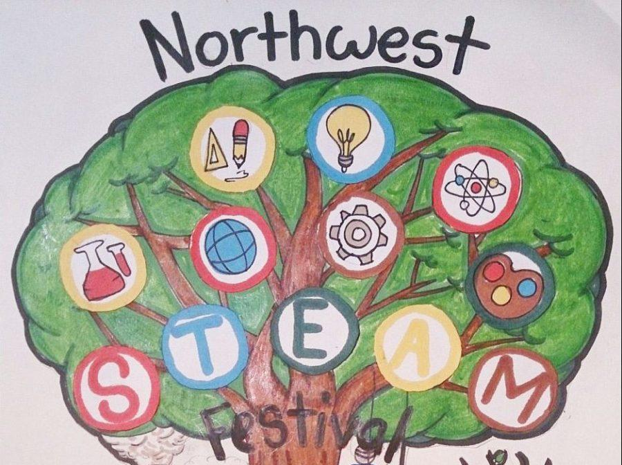 Danielle Valenzuela is awarded with her design after submitting it into the 2017 Northwest STEAM Fest T-shirt design.