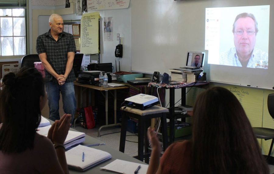 English teacher Ron Baer along with his AP Literature class hold a conversation with Thomas Foster author of