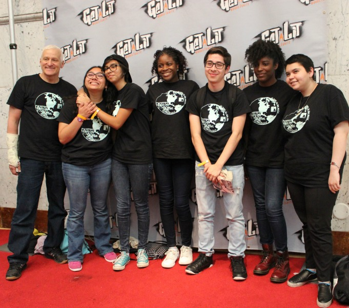 Daniel Pearl Magnet High School's Get Lit poetry team poses for a photo  in the annual Get Lit Classic Slam, accompanied by English teacher Ron Baer.