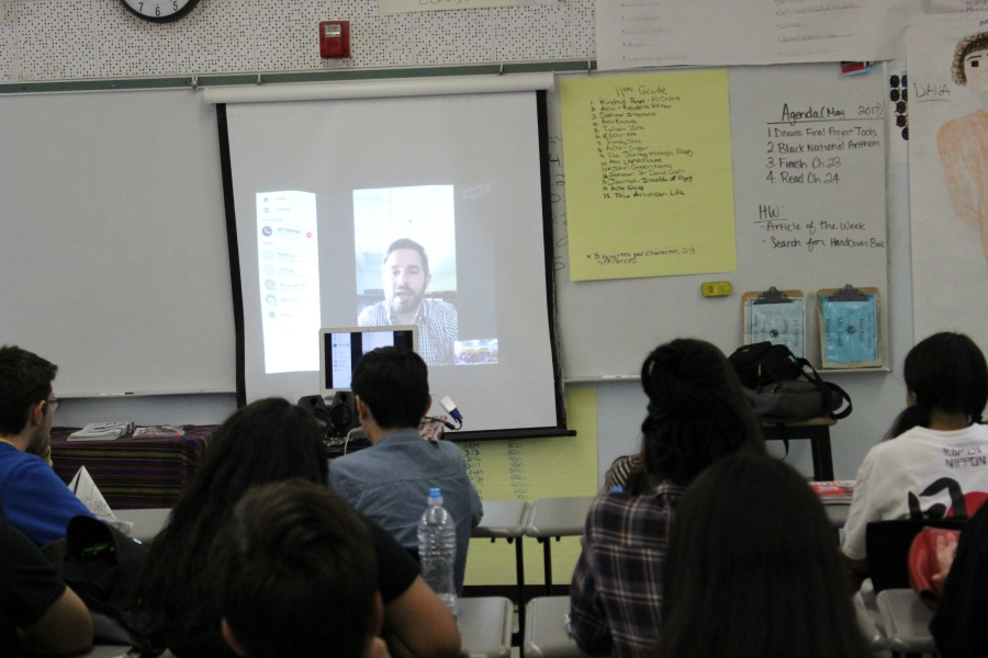 Ron Baer's Honors English class listens to author Jeff Zentner discuss why he would not write a sequel to his novel