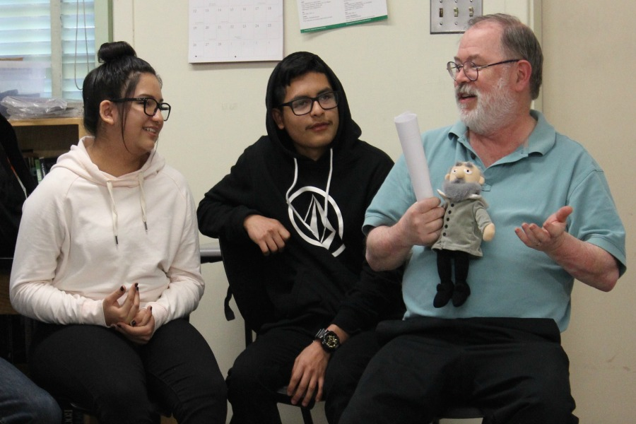 In May, science teacher Stephen Schaffter leads students in his honors physics class in a community-building circle as part of the restorative justice.