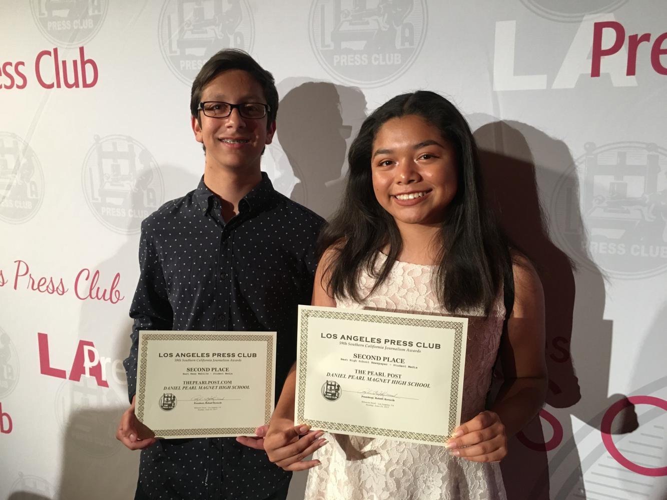 Editors Michael Chidbachian and Kirsten Cintigo after receiving second place for both the online and print publications at the 2017 SoCal L.A. Press Club Awards in June 2017.