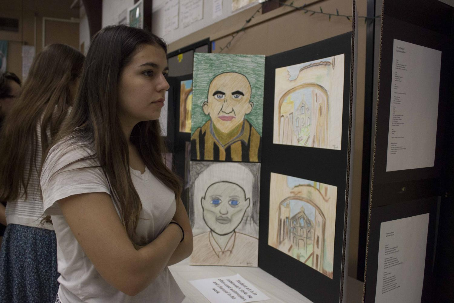 Senior Valarie Valdez admires the students recreation of Labkovsky's work