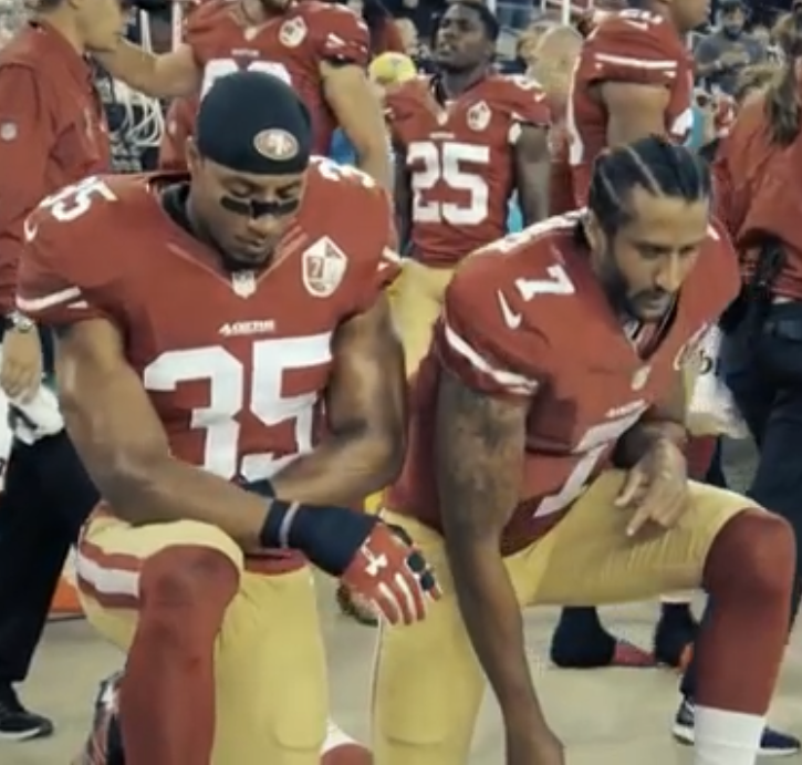 Colin Kaepernick started to kneel during the national anthem as a protest for racial equality.