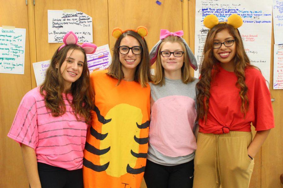 Seniors Michelle Kaganovsky, Eva Kaganovsky, Alice Curran and Angel Rivera were voted the best group costume.