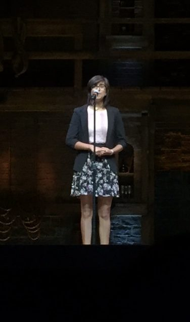 Junior Emely Felix performed her original poem in front of hundreds of students before the Hamilton performance.