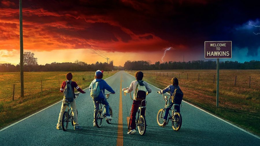Lucas, Dustin, Mike and Will observe Demogorgons in the sky while riding their bikes, awaiting a new and dangerous conflict.