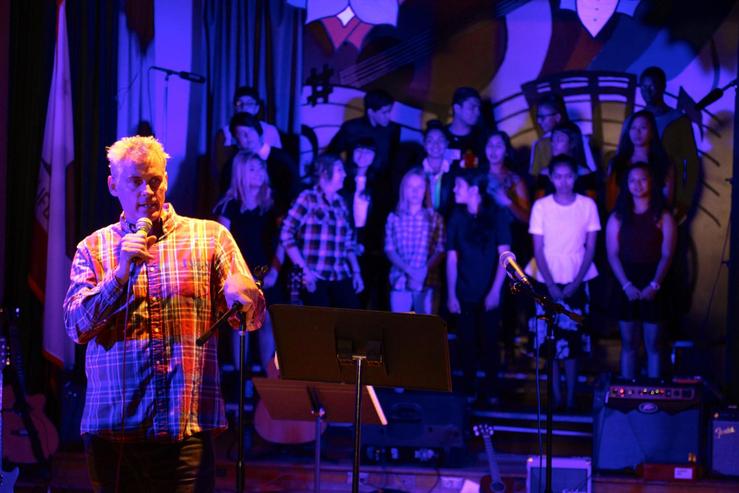 During the 2017 Daniel Pearl World Music Day concert, Music teacher Wes Hambright announces the closing remarks.