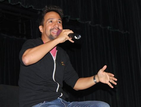 Lin-Manuel Miranda shares his thoughts at a question and answer session with students at Panorama High School sponsored by Congressman Tony Cardenas on Aug. 17.