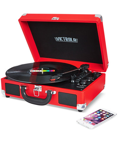 This Victrola Solid Suitcase Bluetooth Record Player is available at Macy's for $59.99.
