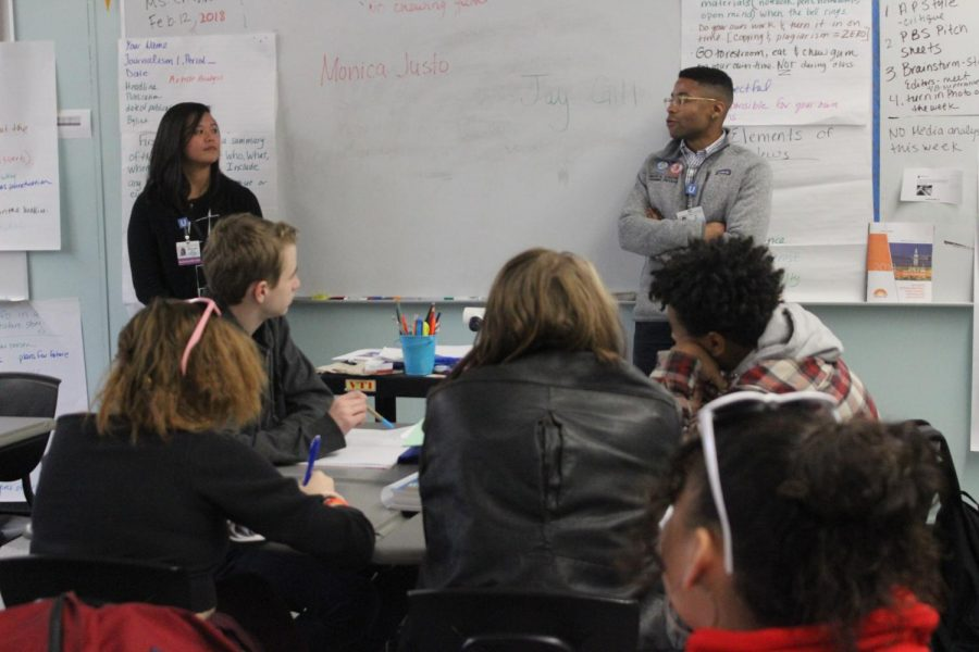 First-year UCLA medical students Monica Justo and Jay Gill have a Q&A session with the 6th period Journalism 1 class on Feb. 12.