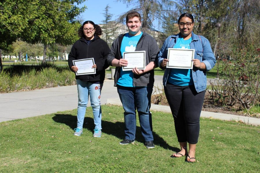 Staff Writers Melissa Hernandez, David Eskichyan and Angel Van Horn posed together with their certificates.