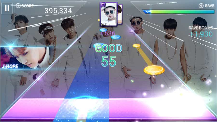 SuperStar BTS tests rhythm and reaction skills with colorful note indicators and upbeat K-pop tunes sure to have fans tapping away.