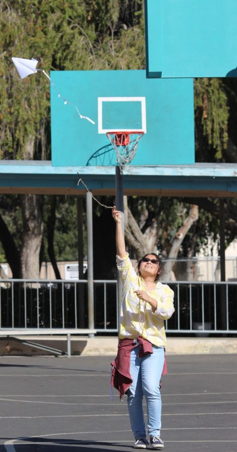 Sophomore Nicole Gambino successfully flies her kite during Mr. Baer's English class.