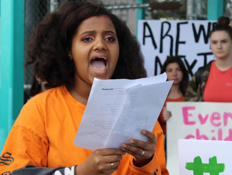 Kaia Greenwood, the sophomore who organized the #Enough Walkout at Daniel Pearl Magnet High School, reads a speech she prepared in honor of the 17 students the nation lost in the Parkland shooting a month ago today.