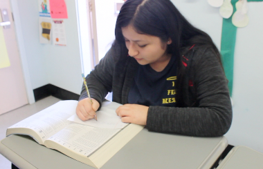 Junior Mariana Sifuentes studies for the upcoming SAT on Saturday.
