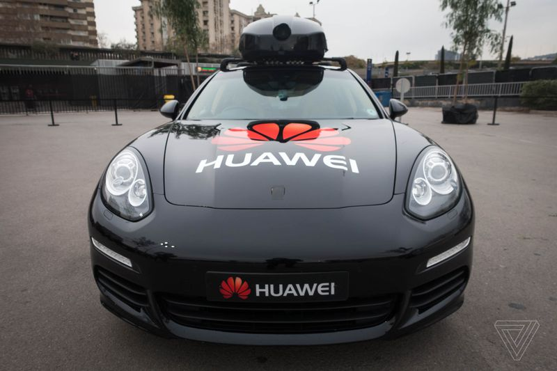 The camera on top of this Porsche Panamera feeds information to Chinese company Huawei's Mate 10 Pro smartphone.