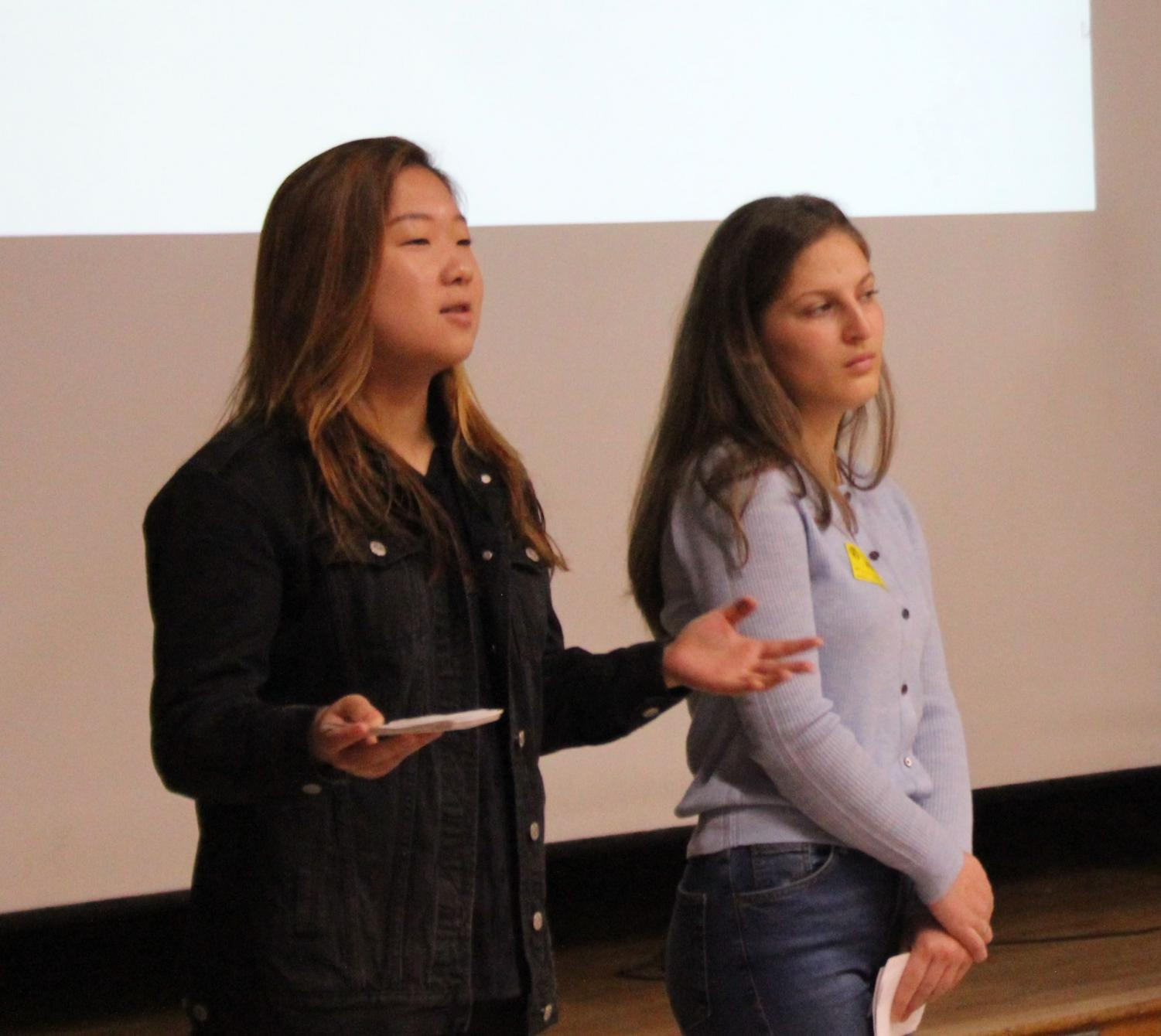 Presenters Hannah Ji and Madeline Mckay, from The Talk Project, educated students about sexual violence on March 23.