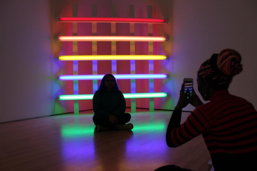 Juniors Amanda Jimenez and Judith Ntere take photos of in front of art pieces at the San Francisco Museum of Modern Art on April 12.