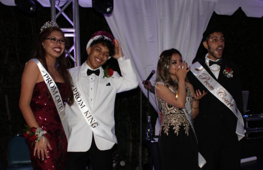 Prom queen Angel Rivera, prom king (sports editor of The Pearl Post) and prom court members Desiree Davila and her date stand together for pictures, shocked and overjoyed in the results of the election. Seniors voted for their peers starting just a week prior to prom, final nominees including these four and Ana Gonzalez as well as her date, Nathan Kangavary.