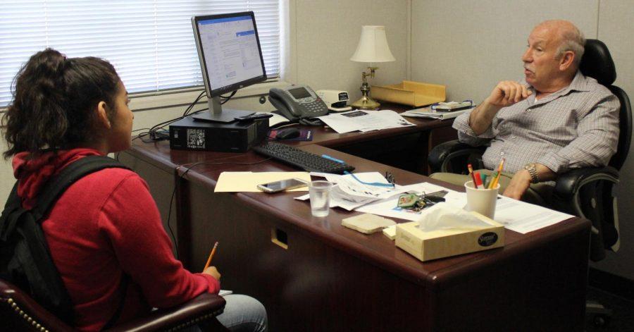 Student journalist Elizabeth Cortez interviews District 3 Board Member, Scott Schmerelson on May 10.