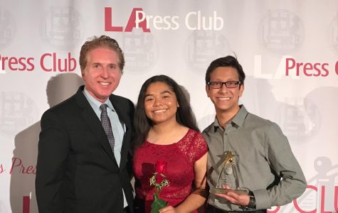 LA Press Club's President Chris Palmeri poses with Print Editor-in-Chief Kirsten Cintigo and Online Editor-in-Chief Michael Chidbachian after accepting first place for