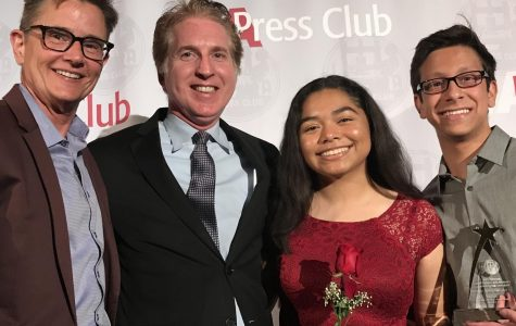 Principal Deb Smith, LA Press Club President Chris Palmeri and editors Kirsten Cintigo and Michael Chidbachian accept the award for