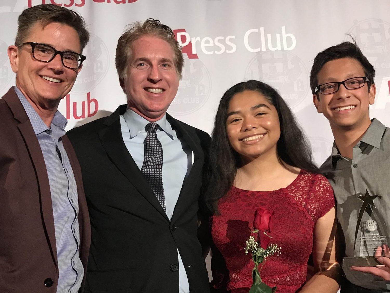 Principal Deb Smith, LA Press Club President Chris Palmeri and editors Kirsten Cintigo and Michael Chidbachian accept the award for