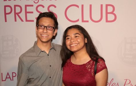 Editors Michael Chidbachian and Kirsten Cintigo pose together during the red carpet portion of the event.