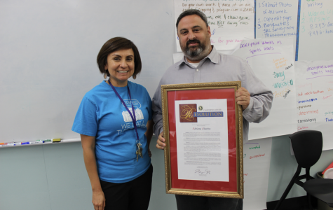 On May 30, Adviser Adriana Chavira was surprised with a plaque sent from California Senator Henry Stern for being named teacher of the year by the Encino Chamber of Commerce.