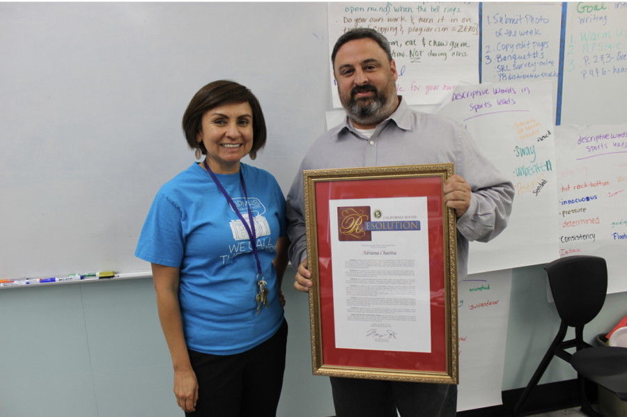 On May 30, Adviser Adriana Chavira was surprised with a plaque sent from California Senator Henry Stern for being named teacher of the year by theEncino Chamber of Commerce.