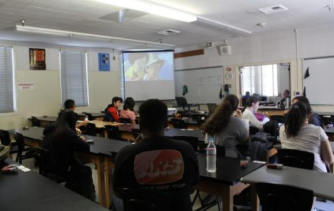 Students gather in Room 6 during the anime portion of Anime and Gaming Club, which meets on Thursdays during lunch.