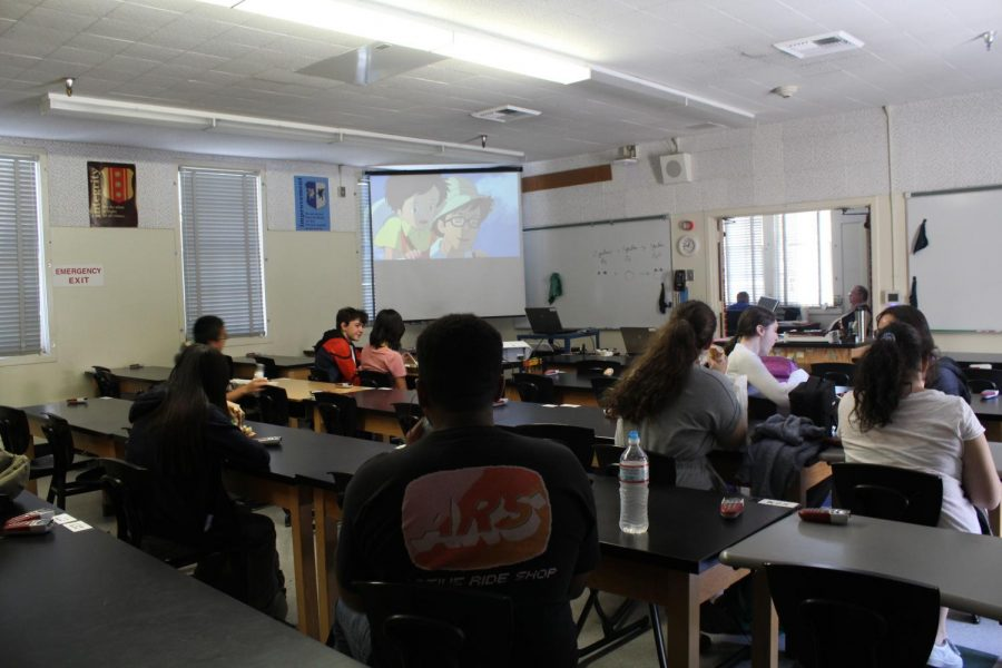 Students+gather+in+Room+6+during+the+anime+portion+of+Anime+and+Gaming+Club%2C+which+meets+on+Thursdays+during+lunch.