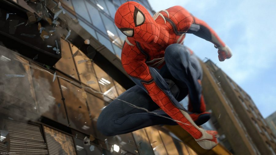 Spider-Man+performs+some+of+his+web+swinging+acrobatics+in+his+new+adventure+on+the+Playstation+4.