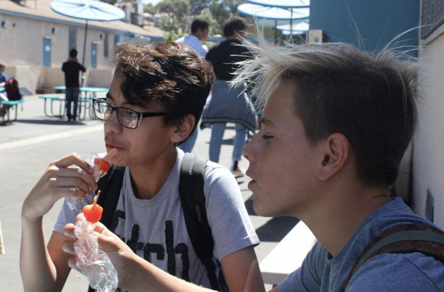 Students Diego Hernandez and Yoni Zelig enjoy popsicles during lunch. Students who received their house sticker were able to report back to Stephen Shaffer's room to receive a popsicle.