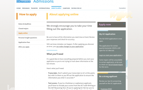 The UC application is among one of the many applications that are now open for seniors.