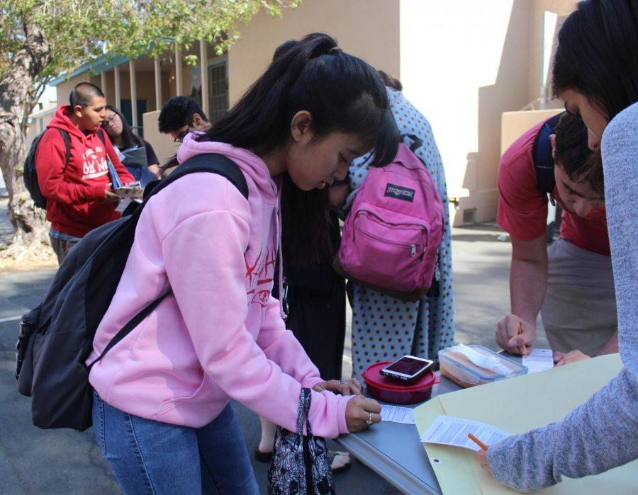 Junior Mia Garcia votes in the mock election held on Oct. 9