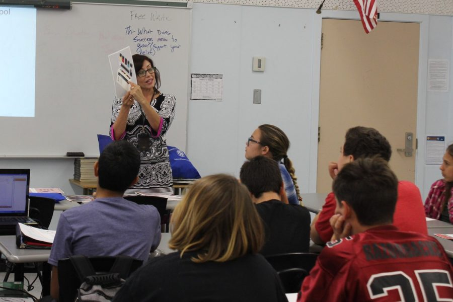 Nora Manzanilla  from the Tobacco Enforcement Program talks about Juul products to period three English class freshman Sept. 27.