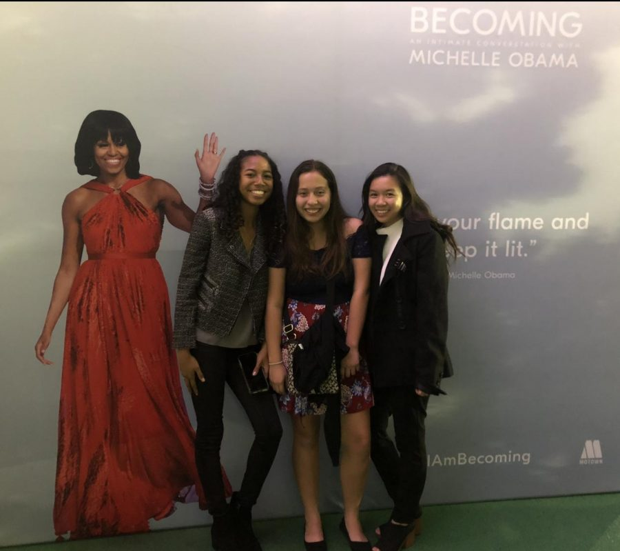 Social Media Editor Cassia Ramelb, Staff Writers Itzel Luna and Alliana Samonte pose with a cardboard cut out of Michelle Obama at her