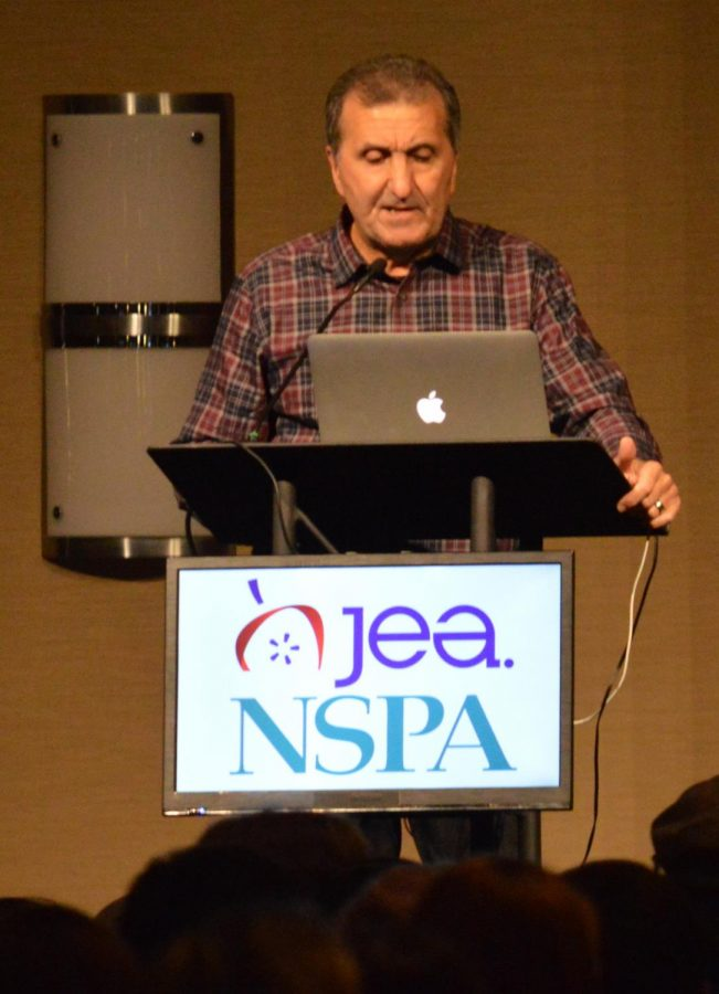 Former photojournalist and best selling author Pete Souza gives a keynote presentation at the JEA/NSPA convention in Chicago on Nov. 1