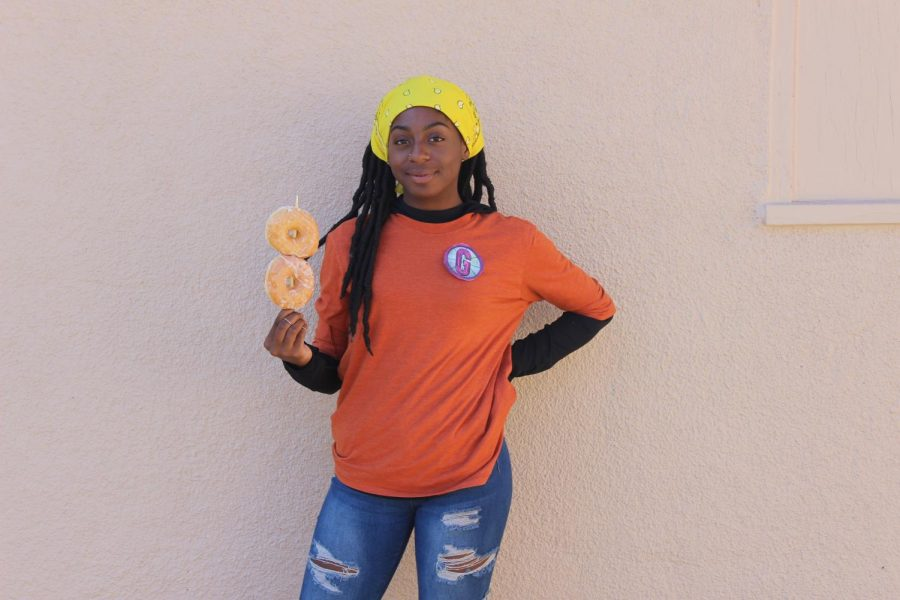 Junior Queen Baskerville dresses up as T-Bo from