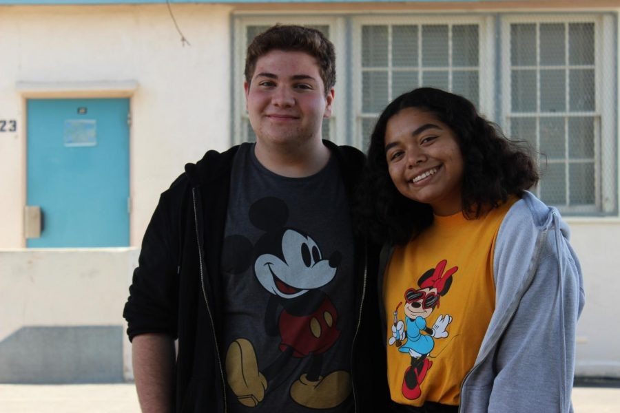 Feature Editor David Eskichyan and Editor-in-Chief Kirsten Cintigo wear their favorite Disney shirts for Disney Day on Oct. 30.