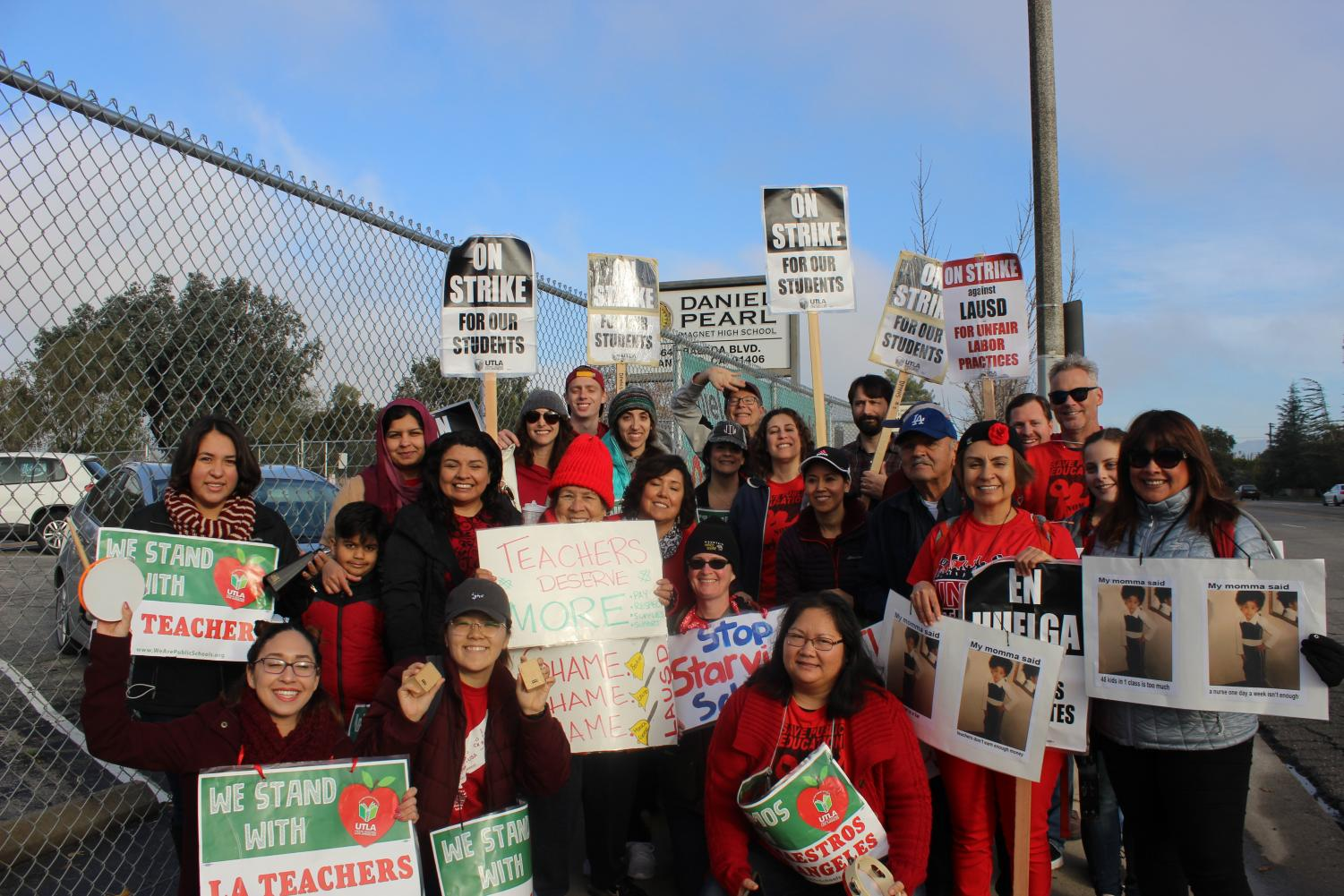 Teachers gathered outside of Daniel Pearl Magnet High School to picket on Jan. 18.