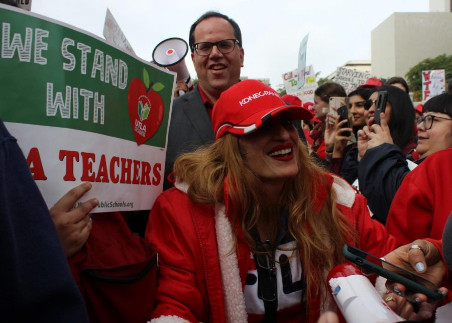 United Teachers Los Angeles' president Alex Caputo-Pearl walked through the crowds of teachers and supporters in front of City Hall on Jan. 18.