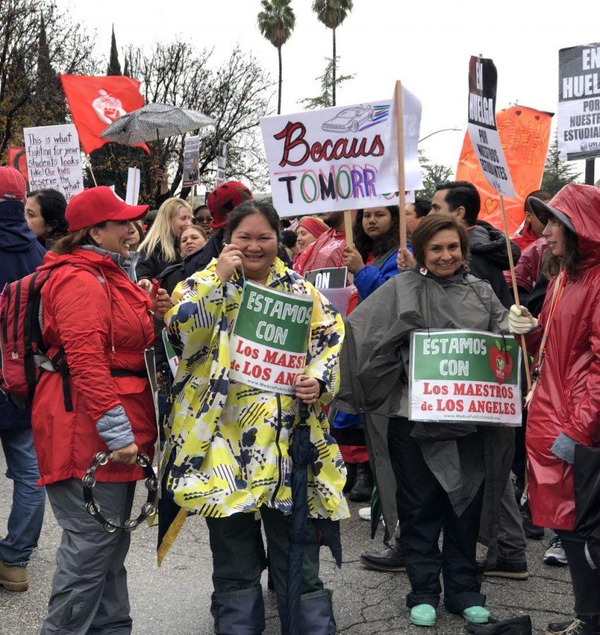 Spanish teacher Glenda Hurtado, history and English teacher Davy Mauermann and journalism and English teacher Adriana Chavira rally on Jan. 16.