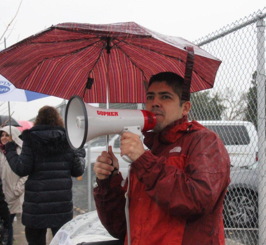 Franky Ortega chants demands for the UTLA teacher strike on January 14.